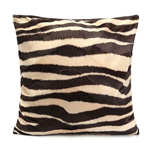 OULII Cuadrado/rectángulo leopardo Animal impreso relleno cojín relleno felpa corta tiro almohada cubierta para comedor sala cocina silla asiento casa decoración