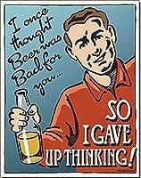 私はビールが悪いと思ったことがあります Funnymetal 錫看板 12x8 インチ ホーム キッチン 寝室 バー看板 装飾 ポスター 錫看板 ハロウィン 感謝祭 ギフト メタルプレートブリキ 看板 2枚セットアンティークレトロ