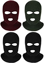 4 Pieces 3-Hole Full Face Cover Ski Mask Winter Balaclava Warm Knit Full Face Mask (Black Wine Red Army Green)