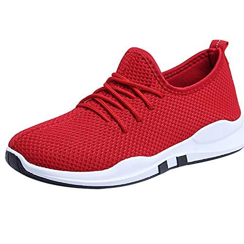 Schuhe Sneaker Turnschuhe Sportschuhe Damen Outdoor Schuhe Schuhe Damen Luckhome Frauen, die Trainer laufen, schnüren sich oben flache bequeme Eignungs-Turnhallen-Sportschuhe-Freizeitschuhe(rot,EU:39)