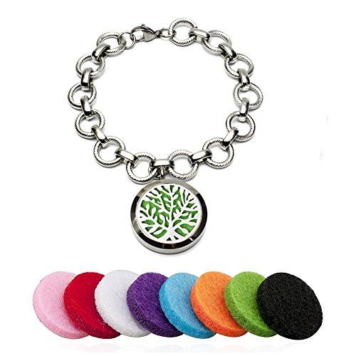 Ätherische Öle Diffusor Armband Baum Armkette Aromatherapie Ätherisches Öl Ambänder Edelstahl Schmuck Mit 8 Refill Pads (Kreis)