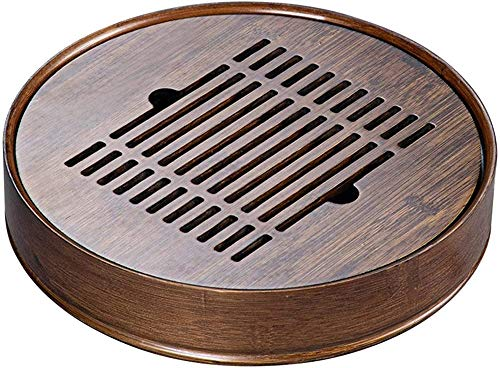 Tea Tray Round Mini Bamboo Japanese/Chinese Gongfu Tea Table Serving with Water Storage Tank and Non-Slip Base Used for Home Decoration Gifts 38CM/15IN Evolutions