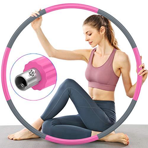 TTMOW Fitness Erwachsene Hoop, Verbesserter Edelstahlkern mit Dicker Premium Schaumstoff, Stabiler, Komfortabler und Längeres Leben, 2,7 lb zum Abnehmen (Grau und Pink)