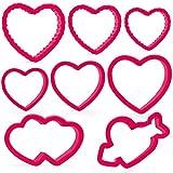 Crethink Set di formine per biscotti a cuore di San Valentino - 10 pezzi di plastica per biscotti di San Valentino Cuore, cuore con freccia, doppio cuore, cuore ondulato