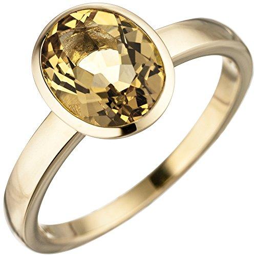 Ring Damenring mit Citrin gelb oval 585 Gold Gelbgold Goldring Citrinring, Ringgröße:Innenumfang 60mm ~ Ø19.1mm