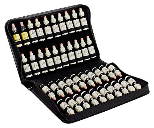 Taschenapotheke für 40 Bachblüten aus schwarzem Leder