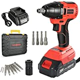 Impact Driver 20V 2.0Ah Brushless Cordless Impact Wrench Kit, with Lithium-ion Battery/Charger,320N.M Torque, 1/2' Keyless Chuck,Variable Speed & LED for Automotive Repair