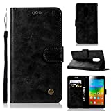 Guran® PU Leather Case for Lenovo <span class='highlight'><span class='highlight'>K6</span></span> Note (5.5 inch) Smartphone Flip Cover with Wallet and Stand Functions Vintage leather case Embossed Phone Case - Black