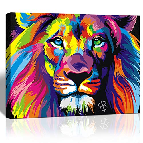 Purple Verbena Art abstract Colorful painting Lion Picture Canvas print Wall art Modern decor design Animal Paintings Artwork for office dorm Home Living Room Decor, 12x16 Inches, Stretched and Framed