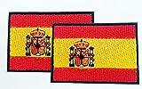2 Banderas de ESPAÑA PARCHE BORDADO AUTOADHESIVO, termoadhesivo, planchable