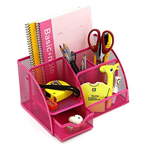 Btsky Schreibtisch-Organizer, mit 6 Fächern, aus Netzdraht, mit Schublade, ordentliche Aufbewahrung, platzsparend, vielseitig verwendbar rose