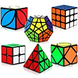 Speed Cube Set, Aitbay Magic Cube Bundle 2x2 3x3 Pyramid Megaminx Skew Ivy Sticker Cubes Puzzle Toys Gift Box for Kids and Adults (6 Pack)