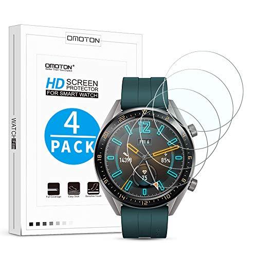 OMOTON [4 Stück] Panzerglas Schutzfolie für Huawei Watch GT Classic (1,39 Zoll) & Huawei Watch GT Active, 9H Festigkeit, Anti-Kratzen, Anti-Öl, Anti-Bläschen