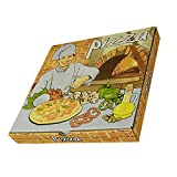 Lot de 100 boîtes à pizza en carton Design italien Microcanal 330 x 330 x 35 mm