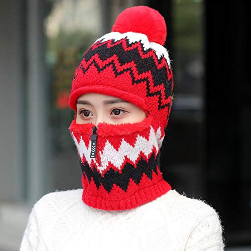 Tony plate Chapeau d'hiver Chapeau Chaud Dames Plus Bonnet Rembourré en Velours Costume Équitation Vent Et Froid Bonnet Tricoté Hiver Femme Chapeau Chaud-Rouge