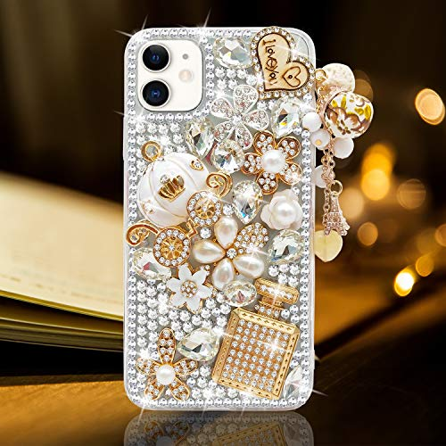 Guppy for iPhone 8 Plus/iPhone 7 Plus Case Women Luxury 3D Bling Shiny Rhinestone Diamond Crystal Pearl Handmade Pendant Iron Tower Pumpkin Car Flowers Soft Protective Anti-Fall Case