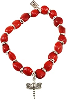 Evelyn Brooks Designs Peruvian Gift Dragonfly Charm Stretchy Bracelet for Women - Symbol of Happiness & Hope w/Huayruro Red Seeds