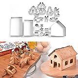 Sttarchacer 18pcs cortador de galletas 3D casa de jengibre galletas de Navidad DIY molde para hornear