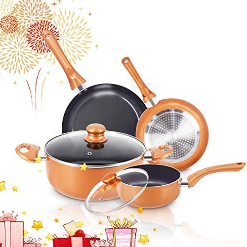 FRUITEAM 6pcs Non-Stick Kitchen Cookware Set, Copper Pots and Pans Set Ceramic Induction Cookware Set Toxic Free Aluminum Pan with...