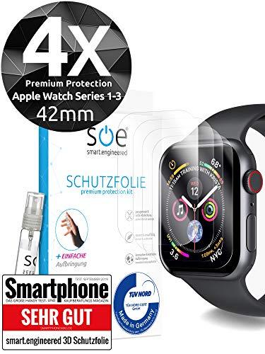 [4 Stück] Schutzfolien kompatibel mit Watch 42mm Series 1-3 - [Made in Germany - TÜV NORD] Premium Schutz - volle Abdeckung - blasenfreie Aufbringung - HD-Klar - Wasser- & schmutzabweisend