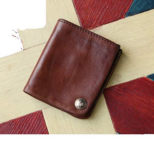 RANGE Cuero genuino Cartera corta original hecha a mano original de los hombres con curtido vegetal de la primera capa Cartera ultrafina de cuero...