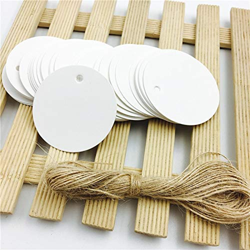 QYJ 100pcs/lot White Black Brown Kraft Paper Tags Round Luggage Note Wedding Cards Blank Craft Paper Gift Tags 5 * 5cm (Color : White with 10m rope)