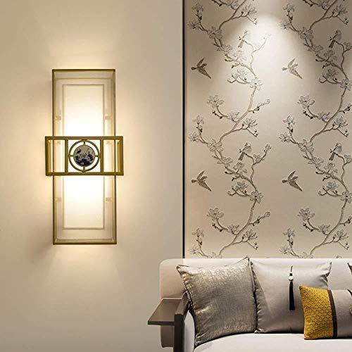 lámpara de pared Aplique de pared de luz brillante lámpara de cabecera cubierta inodoros de oro Hierro forjado Faro de pantalla de la tela 2 Fuente de luz de tres colores lámpara de pared ligera ilumi