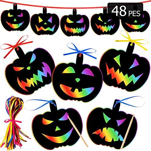 48 Pieces Halloween Scratch Paper Halloween Ornaments Craft Magic Colorful Scratch Craft Art Rainbow Halloween Decor with 12 Wooden Sticks...