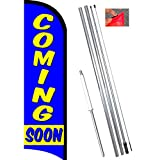 Coming Soon Windless Feather Flag Bundle (11.5' Tall Flag, 15' Tall Flagpole, Ground Mount Stake) 841098197193