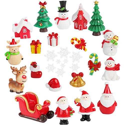 FunPa Christmas Mini Resin Ornaments,30PCS Mini Resin Christmas Ornaments Decor for DIY Fairy Garden Dollhouse Decoration Desktop Christmas Decoration