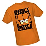 Don't Know Don't Care -- Garfield Adult T-Shirt, Medium