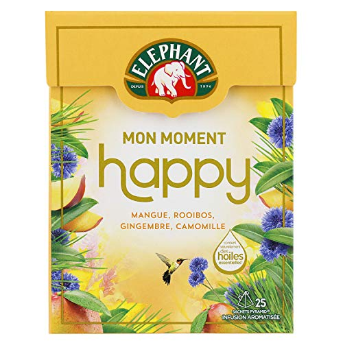 Elephant Infusion Mon Moment Happy, Mangue Rooibos Gingembre Camomille, 25 Sachets Pyramides