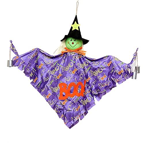Angel&H Fantasma Colgante de Esqueleto de Calabaza de Halloween, Colgante de Pared de Carillón de Viento de Espantapájaros, Utilizado para Decoración Césped de Jardín de Halloween