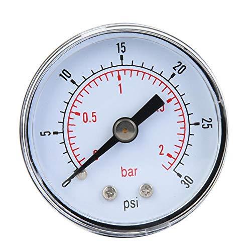 Mechanisches Manometer, 1/8 Zoll BSPT Axialmanometer für Luft, Öl und Wasser(0-30psi,0-2bar)