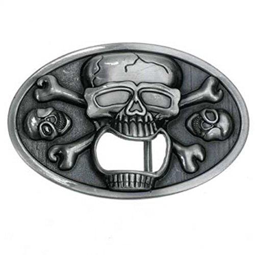 Happy Star® Metal hebilla de cinturón de calavera abridor de botella de cerveza
