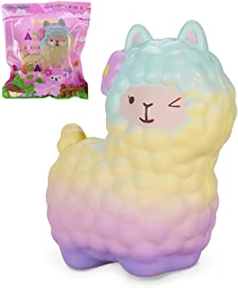 VLAMPO 6.5inch Jumbo Rainbow Llama Squishies Slow Rising Scented Giant Alpaca Squishy Toys Squeeze Kawaii Sheep Squishies Collection for Kids Adults Stress Relief Time Kill Toys