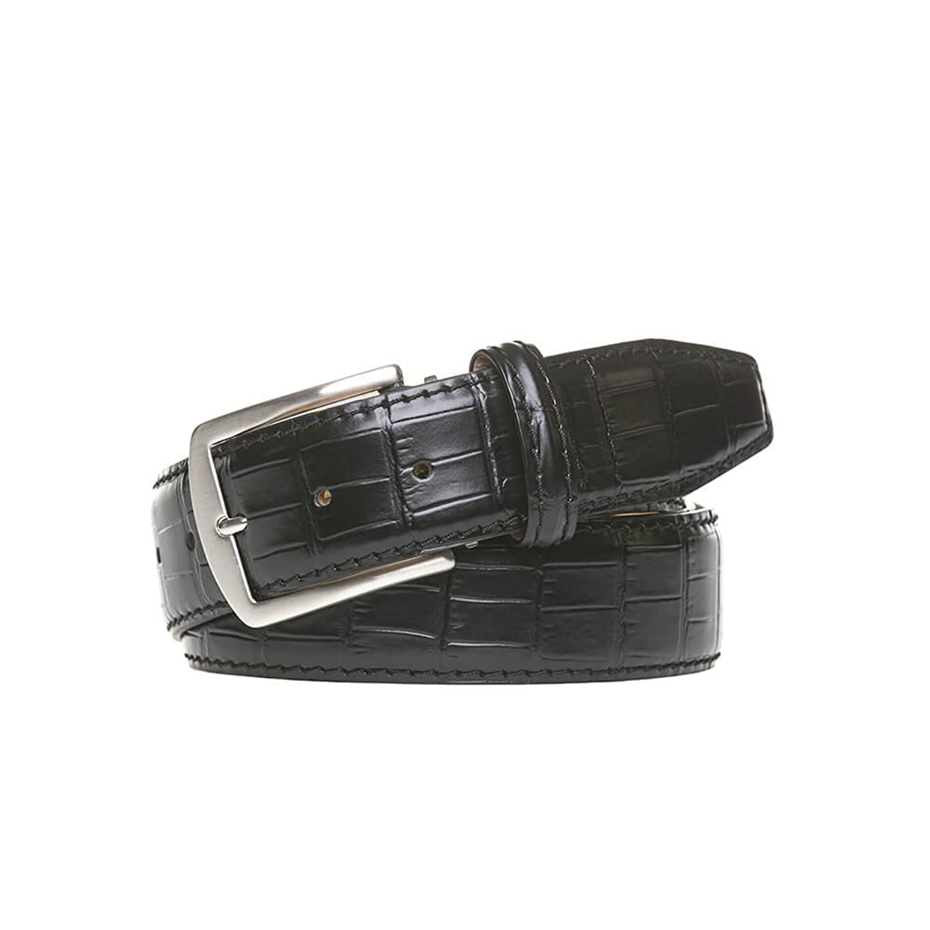 Black Italian Mock Gator Leather Belt