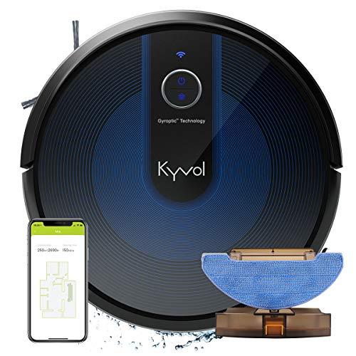 KYVOL 2 en 1 Aspirateur Robot Laveur avec Aspiration Puissante, Autonomie de 150min, Système de Lavage Adjustable, 600ml+300ml Réservoir, Barrières Virtuelles, Carpet Boost, 2.4Ghz WiFi, E31 Noir
