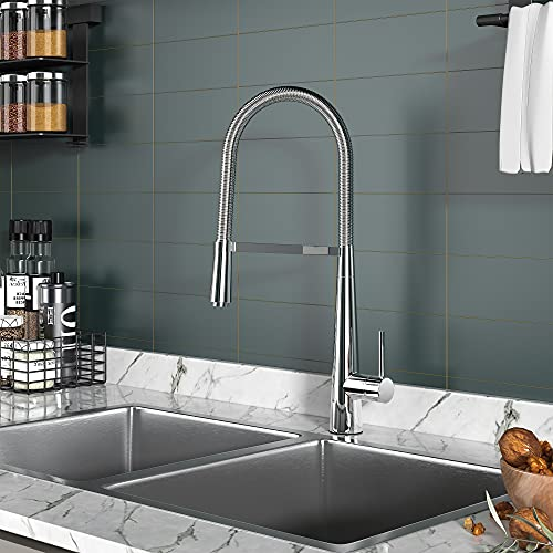 YITAHOME Chrome Kitchen Faucet with Pull Down Sprayer, 21in Tall Single Handle Brass Spring Kitchen Sink Faucet, Commercial Style Stainless Steel Pull Out Prep Faucet for Sink Laundry,Exclusive Design