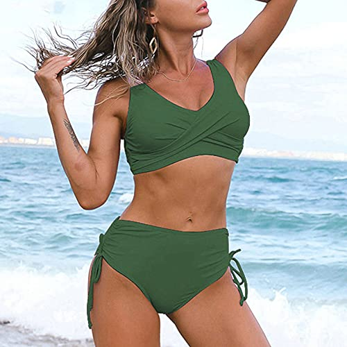 Bikinis Mujer,Push Up Bikinis Traje De Baño Trajes De Baño para Mujer Sexy Biquini Trajes De Baño De Cintura Alta Ropa De Playa Negra Bikinis con Cordón, Verde Militar, L