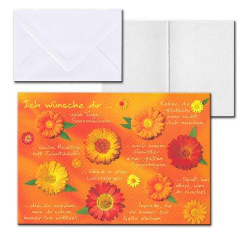 Cartolini Aufklappkarte Karte Sprüche Zitate Briefumschlag Ich wünsche dir 17,5x12 cm