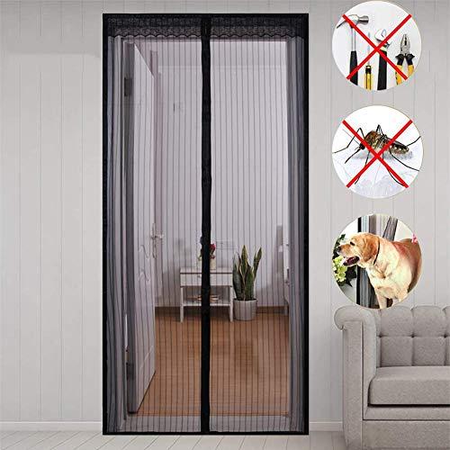 MENGH Magnetica Corredera Cortina 240x220 CM Mosquitera Magnética para Puertas Cerrado automáticamente Plegable Fácil de Instalar para Pasillos/Puertas Negro