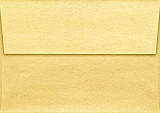 LUXPaper A1 Invitation Envelope in 80 lb Gold Metallic for 3 1/2 x 4 7/8 Cards, Printable Envelopes for Invitations, with Peel and Press, 50 Pack, Envelope Size 3 5/8 x 5 1/8 (Gold)