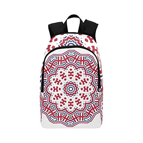 DKGFNK Casual Gym Bag Red Geometric Round Symmetrical Floral Durable Water Resistant Classic Tools Backpack Daypack for Men Mens Travel Toiletry Bag Best Packable Daypack