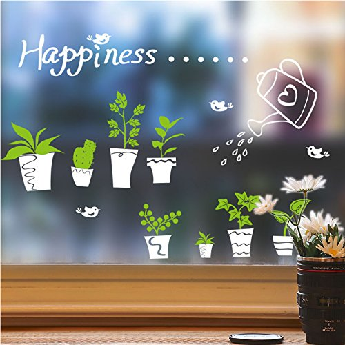 Vinilo adhesivo decorativo para pared, diseño de plantas de maceta