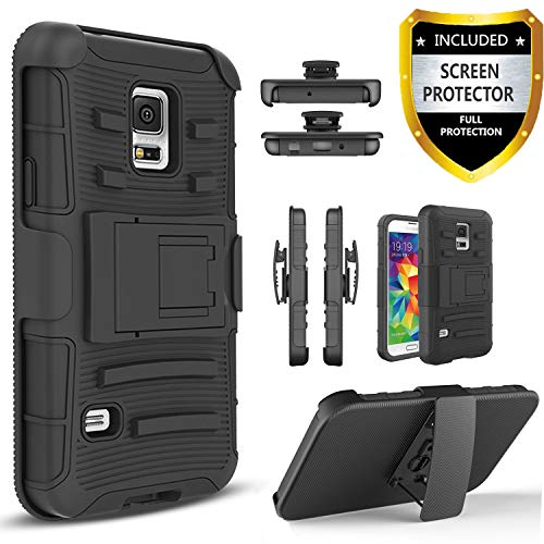 Galaxy S5 Active Case, [NOT FIT Galaxy S5] with [Premium HD Screen Protector Included] Dual Layers [Combo Holster] Cover and Built-in Kickstand Bundled Hybird Shockproof [Black]