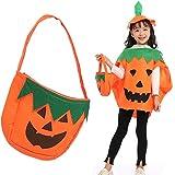 Disfraz de Calabaza, Disfraz de Calabaza de Halloween para Niños Halloween Ropa de Fiesta Cosplay Ropa con Gorro y Bolsas de Dulces para Niños
