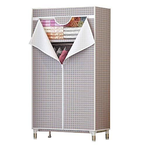 LJP Armario simple para dormitorio, tela Oxford, armario portátil, 25 mm, tubo de acero, marco de acero, armario de almacenamiento de ropa (color: B)