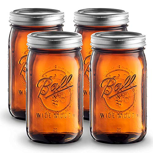 Ball Amber Glass [4 Pack] Wide Mouth Mason Jars (32 oz/ Quart ) With Airtight lids and Bands - Amber Canning Jar - UV light Protection - Microwave & Dishwasher Safe. + SEWANTA Jar Opener