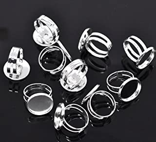 PEPPERLONELY Brand, 20PC Silver Plated 16.7mm Bezel Cup Ring Settings Adjustable Us 6.75 or Larger (Fit 16mm Cabochon)